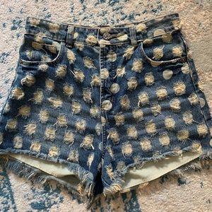 Anthropologie polka dot high waist jean shorts